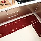 Segle Tapis Cuisine Antidérapant Absorbant Tapis de Sol Devant Evier Machine Lavable,Vin Rouge-45 * 90cm