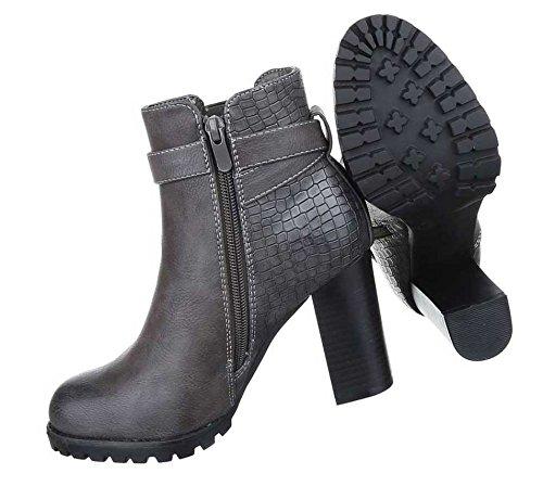 Damen Boots Stiefeletten Schuhe Used Optik Grau Braun 36 37 38 39 40 41 Grau