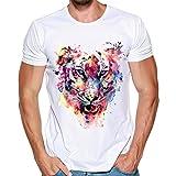 T Shirt Herren, HUIHUI Coole O-Ausschnitt Kurzarm Sweatshirt Slim Fit Basic uv Polo-Shirt Mode Sport Oberteile Oversize Bench Tops Löwe Drucken Sommer Freizeit Hemd Poloshirt (S, Weiß)