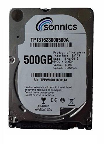 Disco duro interno Sonnics2,5 SATA 6,0 Gb/s 7200 RPM 8MB Cache 7 mm 500 gb