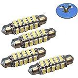 HQRP Paquet de 4 ampoules LED 360° Feston 41mm 60 LEDs blanc froid pour feux de position, navigation, tête de mat, lampe d'ancrage + HQRP Sous-verre