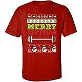 iN. Suéter Feo de Navidad con Abanico para Levantamiento de Pesas, Camisa para Adultos, Color Rojo