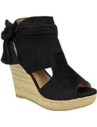 Sandalias con cuña alta y lazo en tobillo para mujer verano plataforma talla