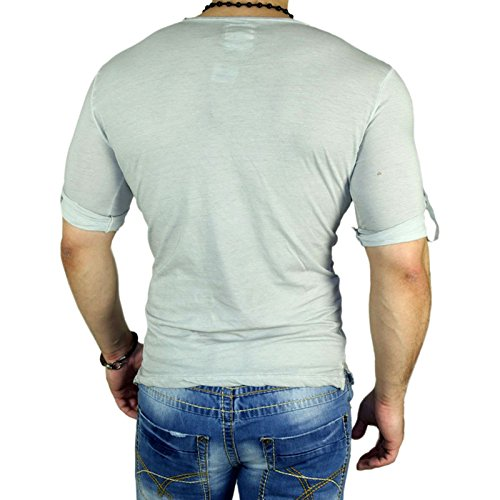 RUSTY NEAL Herren Kurzarm V-Neck Freizeit Button T-Shirt Anthrazit - Grau 6510 Grau