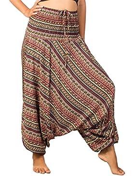 Lofbaz Pantaloni da Donna Smocked Waist Elefante Funky Pavone Harem Floreale Jumpsuit