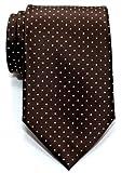 Retreez Corbata de microfibra con puntitos para hombres Marrón oscuro con el punto marrón