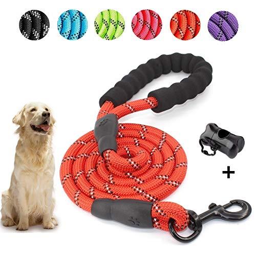 5 FT Starke Hundeleine mit Bequemen Gepolsterten Griff, Starke Reflexnähte der Trainingsleine für Sicherheit Nachts, eignet für Alle Größe Hunde (Rot) -