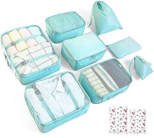Organizer Reise Kleidertaschen, 8 Kleidertaschen für Koffer,Reise Organizer Set Und 2 Vakuumbeutel - Organizer Tasche Verpackungswürfel Organizer Ideal für Seesäcke, Handgepäck und Rucksäcke