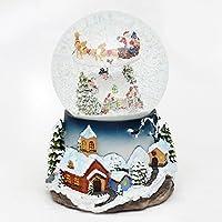 Bella palla di vetro con neve, luci e suoni, Disegno: Babbo Natale con slitta, circa 13,5 x 19,5 cm / Ø 12 cm - Volante Slitta