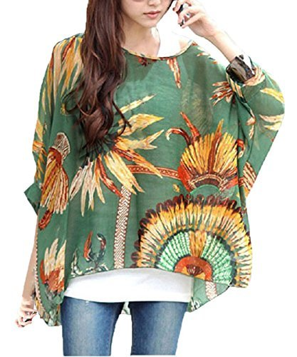Fledermaus Chiffon Bluse - Landove Damen Boho Blumen 3 4 Armel Kaftan Damebluse Tunika T Shirt Poncho (Kaftan Vor)
