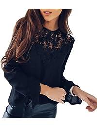368f8723df5c Damen Elegant Bluse Chiffon Bluse Rundhals Spitzenbluse Lace Bluse mit  Trompetenärmel Damen Schöne Floraler Blusen Frauen Langarm T-Shirt…