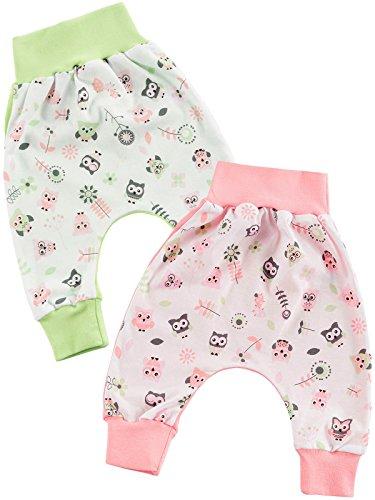 Klekle Baby Mädchen Baggy Hose 2er Set Eule Rosa Eule grün 22773 Größe 80