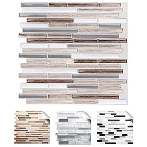 Grandora 4er Set 27 x 25,4 cm Fliesenaufkleber Kupfer marmor Silber Taupe Design 1 I 3D Mosaik Küche Bad Fliesendekor Wandaufkleber Fliesensticker W5534