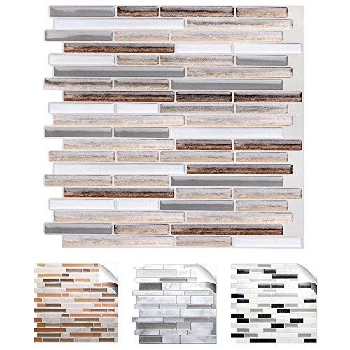 x 25,4 cm Fliesenaufkleber Kupfer marmor Silber Taupe Design 1 I 3D Mosaik Küche Bad Fliesendekor Wandaufkleber Fliesensticker W5534 ()