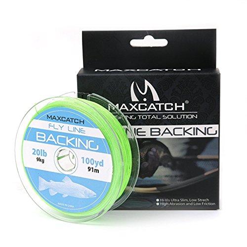 maxcatch Fly Line Backing für Fly Angeln geflochten verschiedene Farbe 20/13,6kg 100YARDS, grün, 20lb,100yards (Fly Reel Mit Linie)