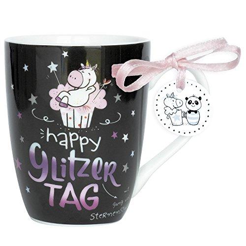 Hope und Gloria 45349 Tee-Tasse Einhorn Motiv Happy Glitzer Tag,  Porzellan-Tasse, 40 cl, mit...