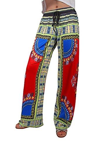 Niseng Donne Casuale Pantaloni Bohemian Totem Stampa Pantaloni Gamba Larga Eleganti Palazzo Pantaloni Stile 6#