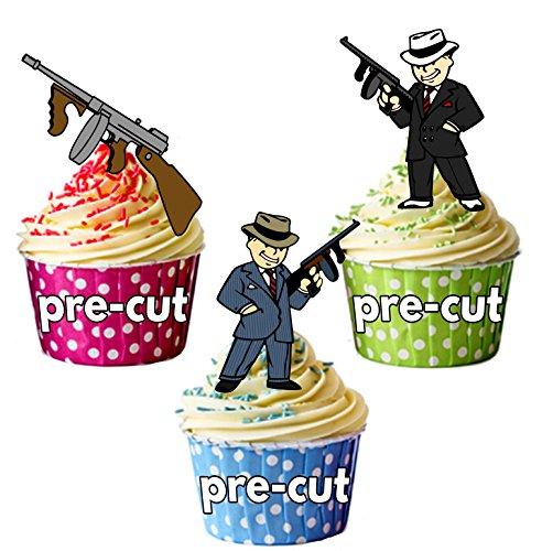 vorgeschnittenen Gangster Mob 19201930–Essbare Cupcake Topper/Kuchen Dekorationen (12Stück) (Essbare Gun)