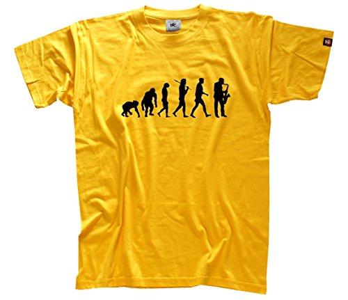 Saxophone Saxofon Saxofonist Evolution T-Shirt Gelb S