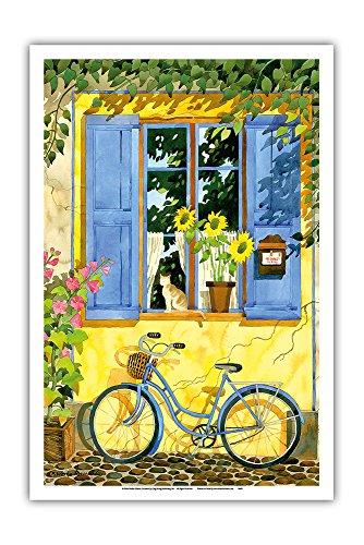 Pacifica Island Art Das französische Fahrrad - Frankreich - Von Einer Aquarellmalerei von Robin Wethe Altman - Kunstdruck - 31cm x 46cm (Robin Fahrrad)