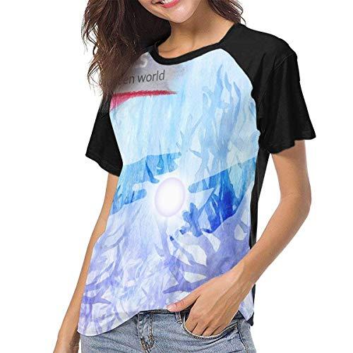 Kmehsv Damen Kurzarm T-Shirts mit Rundhalsausschnitt, Nujabes Womens Women\'s Baseball Short Sleeves Loose Short Sleeve Soft Tshirts