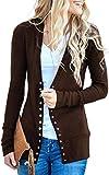 Aswinfon Strickjacke Cardigan Damen Langarm Elegante Herbst mit Knöpfen Strickjacken Sweater Strick (Braun,S)