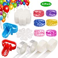 ACEONE Balloon Decorating Kit for Arch Garland - 2 Balloon Tape Strip, 2pcs 100 Dot Glue, 2pcs Tying Tool, 6pcs Ribbons, 20pcs Flower Clips for Party Wedding Birthday Baby(32Pack)