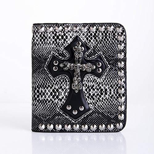 XINTD Mens Wallet Skull Cross Billetera Cuero Real