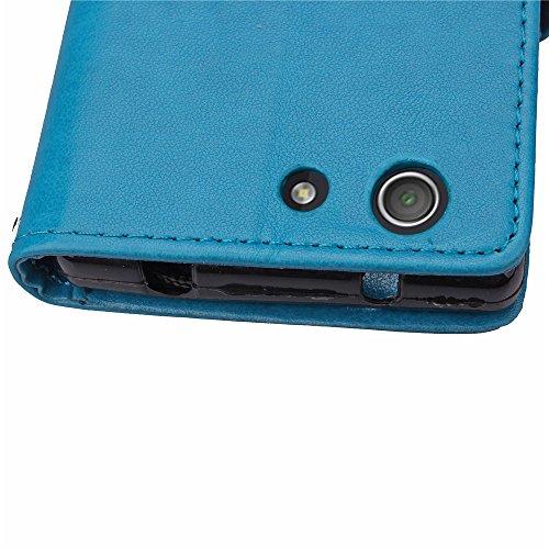 ISAKEN Custodia Xperia Z3 Mini, Elegante Sbalzato Embossed Flip Cover per Sony Xperia Z3 MINI Sintetica Ecopelle PU Pelle Case Cover Protettiva Wallet Portafoglio Case Cover Protezione Caso con Suppor fiori: blu