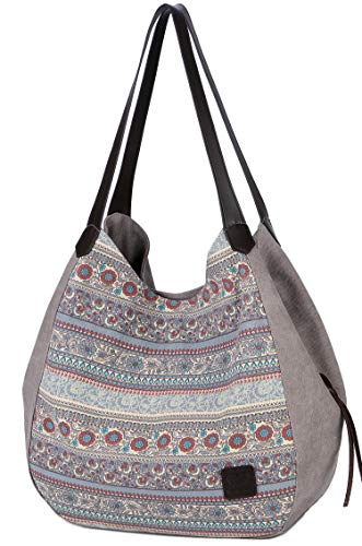 DCCN Canvas Tasche Damen Shopper Bag Handtasche Hobo Bag (Grau Upgrade Groß)