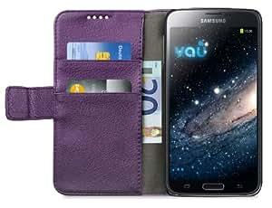 vau The Book lila - ECHT-Leder Case, Etui-Tasche für Samsung Galaxy S5