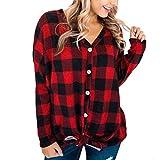 IMJONO Bluse Damen elegant Frauen Spitze Mode Vintage,Frauen-beiläufige Lange Hülsen-Knopf-unten Kariertes Hemd-Strickjacke-Blusen-Spitzen-Pullover(Medium,Rot)