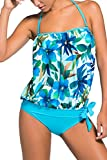 DOKOTOO Women's Solid Colored Bandeau Two-Piece Relaxed Sports Tankini Swimsuit Large Blue Flower