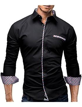 Merish Camicia Uomo Slim Fit, manica lunga, moderni in due colori,a scacchi adatto per tutte le occasioni,casual...