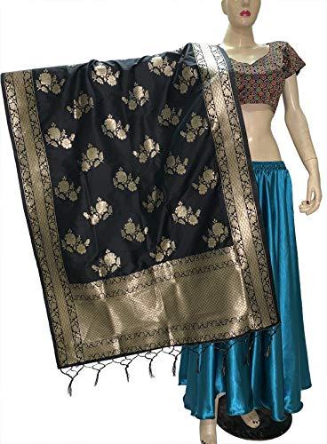 themilestocks Indischer Brautschmuck Hochzeit Pakistani Banarasi Frauen gewebte Baumwolle Seide Schleier Dupatta Stola Chunni Schal - - -