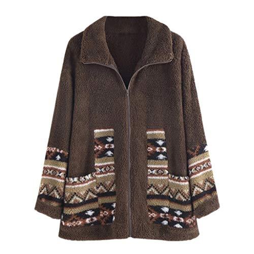 GOKOMO Damen Große Größe Kapuzenpullover Frauen Winter Plus Size Outwear top gedruckt Pullover Bluse Mantel(Braun-B,Large) -