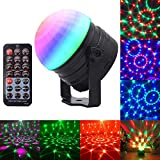 Umiwe Party Lichter DJ Disco Lichter,Sound aktiviert Party Bühne Projektor Lichter mit Fernbedienung rotierenden LED Strobe Lichter 7 Beleuchtung Farbe Crystal Bühne Licht-6W