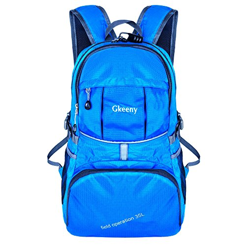 Image of Gkeeny Lightweight Foldable Backpack 35L Ultralight Waterproof Travel Hiking Camping Outdoor Rucksack Daypack [Blue]