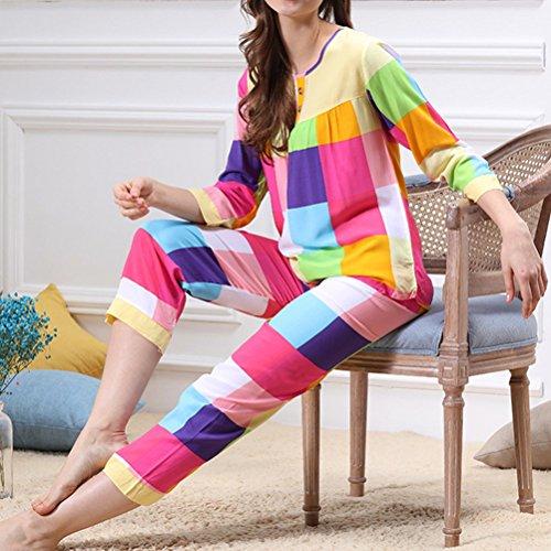 Zhhlaixing Two Pieces Women's Color Lattice Nightwear Set Fashion Long Sleeve Pajamas Multicolor