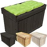 proheim Auflagen-Box mit Sitz aus 100% FSC Holz stabile Universal-Box Kissen-Box Sitzbank, Farbe:Anthrazit, Größe:82 x 41 x 56 cm