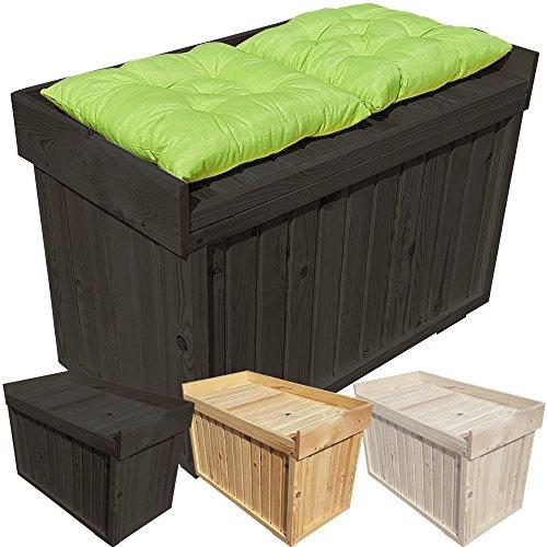 proheim Auflagen-Box mit Sitz aus 100 % FSC Holz stabile Universal-Box Kissen-Box Sitzbank, Farbe:Anthrazit, Größe:82 x 41 x 56 cm