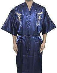 JTC Homme Robe/Vêtement de Nuit Kimono Bordé de Dragon Avec Ceinture -4 Couleurs