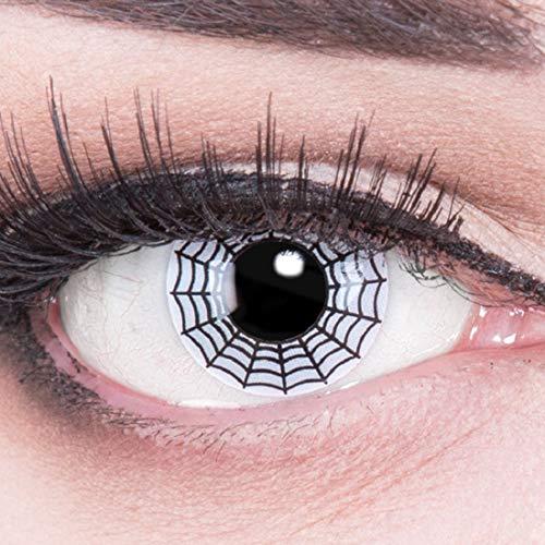 bige weisse schwarze Crazy Fun Spinne Spider Jahres Kontaktlinsen perfekt zu Halloween, Karneval, Fasching oder Fasnacht mit gratis Kontaktlinsenbehälter ohne Stärke! ()