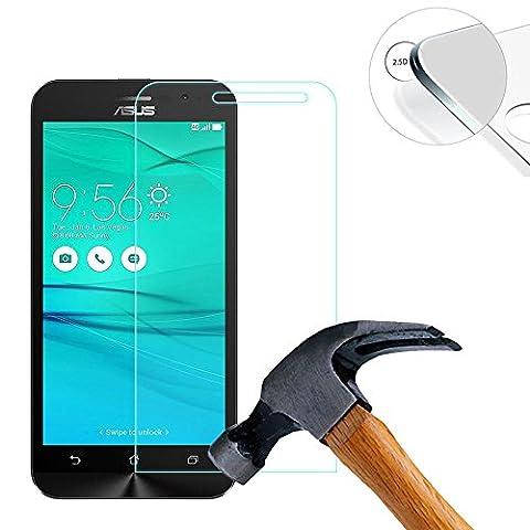 Lusee® 2 x pack Film de Protection écran en Verre Trempé pour Asus Zenfone GO ZB500KL / ZB500KG 5.0 pouce ULTRA RÉSISTANT INDICE Dureté 9H 2.5D 0,3mm Haute transparence