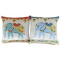 2x riempito elefante floreale fiore morbido velluto argento Teal Duck Egg Blue Red cuscini 43,2cm-43cm