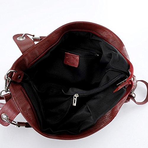 OH MY BAG Handtasche aus leder, damen, schultertaschen und umhängetaschen Modell Paris Dunkelrot