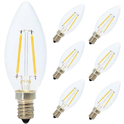 6er Pack E14 2W LED Kerzen Filament Fadenlampe ,200 Lumen, 2700K Warmweiß, 360°Abstrahlwinkel