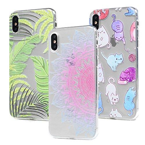 3x Cover iPhone X, Custodia Morbida Silicone TPU Flessibile Gomma - MAXFE.CO Case Ultra Sottile Cassa Protettiva per iPhone X - Totem Foglio Gatto Totem Foglio Gatto