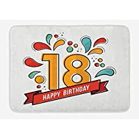 Lake cn case 18th Birthday Bath Mat, Multicolored Digital Print on Eighteen Years Happy Birthday