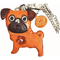 Llavero de Pug cuero genuino Animal Perro/bolso/keychain